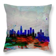 Los Angeles  Watercolor Skyline 1 Throw Pillow