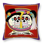 Los Novios Sugar Skulls Throw Pillow