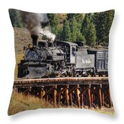 Los Pinos Bridge And Cattle Train Throw Pillow