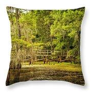 Lost Bridge On Caddo Lake Throw Pillow