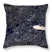 Lost Flip Flop On Lava Rock Throw Pillow