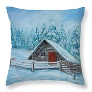 Lost Mountain Cabin Throw Pillow
