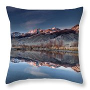 Lost River Mountains Winter Reflection Throw Pillow