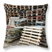Lots Of Pallets Throw Pillow by Olivier Le Queinec
