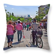 Lots Of People In Old Montreal-qc Throw Pillow