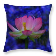 Lotus Flower In Blue Throw Pillow