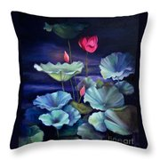 Lotus On Dark Water Throw Pillow