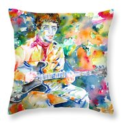 Lou Reed Playing The Guitar - Watercolor Portrait Throw Pillow