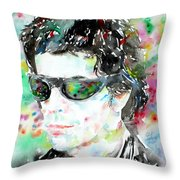 Lou Reed Watercolor Portrait.2 Throw Pillow