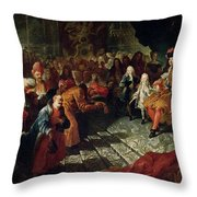 Louis Xiv 1638-1715 Receiving The Persian Ambassador Mohammed Reza Beg In The Galerie Des Glaces Throw Pillow