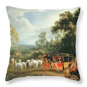 Louis Xiv In His State Coach Throw Pillow