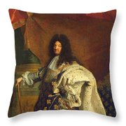 Louis Xiv In Royal Costume, 1701 Oil On Canvas Detail Of 59867 Throw Pillow