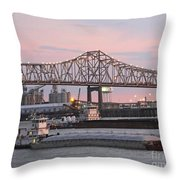 Louisiana Baton Rouge River Commerce Throw Pillow