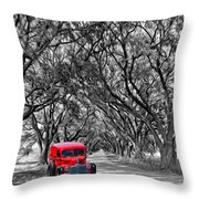 Louisiana Dream Drive Bw Throw Pillow