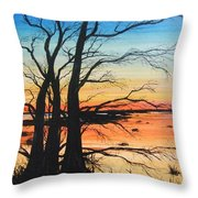Louisiana Lacassine Nwr Treescape Throw Pillow