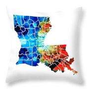 Louisiana Map - State Maps By Sharon Cummings Throw Pillow