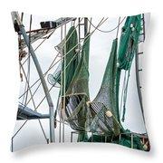 Louisiana Shrimp Boat Nets Throw Pillow