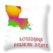 Louisiana State Map Collection 2 Throw Pillow