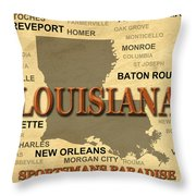 Louisiana State Pride Map Silhouette  Throw Pillow