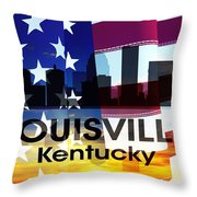 Louisville Ky Patriotic Large Cityscape Throw Pillow