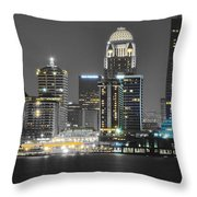Louisville Lights Up Throw Pillow