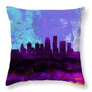Louisville Watercolor Skyline Throw Pillow