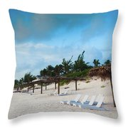 Lounge Chairs And Parasol On Pink Sands Throw Pillow