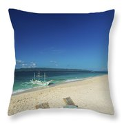 Lounge Chairs And Traditional Boat On Puka Beach In Boracay Phil Throw Pillow