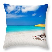 Lounge Chairs And Yellow Umbrellas Throw Pillow