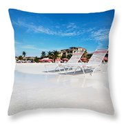 Lounge Chairs On Grace Bay Beach Throw Pillow by Jo Ann Snover