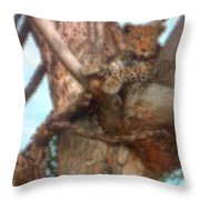 Lounging Leopard Throw Pillow