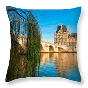 Louvre Museum And Pont Royal - Paris - France Throw Pillow