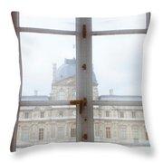 Louvre Museum Viewed Through A Window Throw Pillow