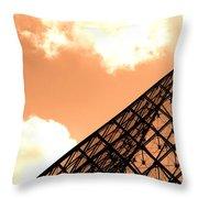 Louvre Pyramid Top Edited Throw Pillow