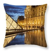 Louvre Reflections Throw Pillow by Brian Jannsen