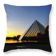 Louvre's Last Light Throw Pillow