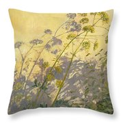 Lovage Clematis And Shadows Throw Pillow