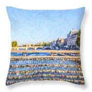 Love Across The Seine Throw Pillow