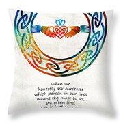 Love And Friendship Art By Sharon Cummings Throw Pillow