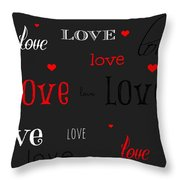 Love And Hearts Throw Pillow