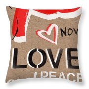 Love And Peace Now Throw Pillow