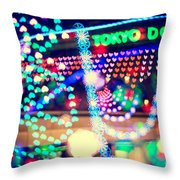 Love And Tokyo Dome With Colorful Psychedelic Heart Lights Throw Pillow