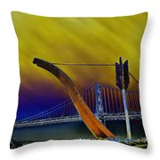 Love At Cupid's Span San Francisco Bay Bridge Throw Pillow