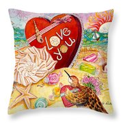 Love At The Beach Throw Pillow