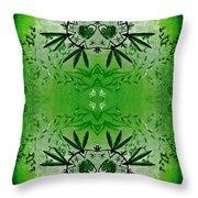 Love Blossom Nature Green Border Throw Pillow