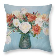 Love Bouquet In White And Orange Throw Pillow