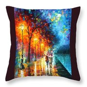 Love By The Lake - Palette Knife Oil Painting On Canvas By Leonid Afremov Throw Pillow