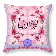 Love Cherry Blossom Throw Pillow