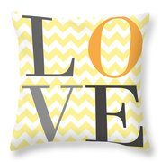 Love Chevron Yellow Throw Pillow