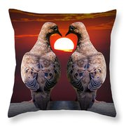 Love Dove Birds At Sunset Throw Pillow